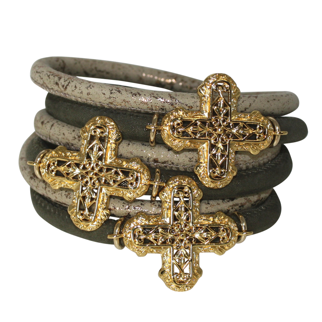 Olive Green & Gold Italian Wrap Leather Bracelet With Gold Plated Crosses