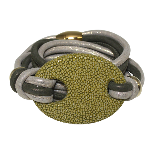 Olive Green & Gold Italian Wrap Leather Bracelet With Stingray Buckle - DIDAJ