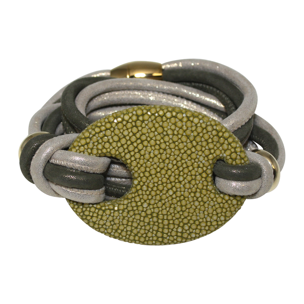 Olive Green & Gold Italian Wrap Leather Bracelet With Stingray Buckle