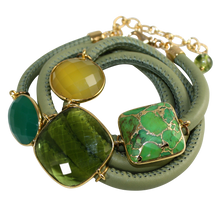 Load image into Gallery viewer, Olive Green Italian Wrap Leather Bracelet With Faceted Green Onyx, Chalcedony, Peridot Quartz & Turquoise