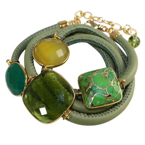 Olive Green Italian Wrap Leather Bracelet With Faceted Green Onyx, Chalcedony, Peridot Quartz & Turquoise