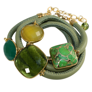 Olive Green Italian Wrap Leather Bracelet With Green Onyx, Chalcedony, Peridot Quartz & Turquoise - DIDAJ