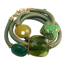 Load image into Gallery viewer, Olive Green Italian Wrap Leather Bracelet With Green Onyx, Chalcedony, Peridot Quartz & Turquoise - DIDAJ