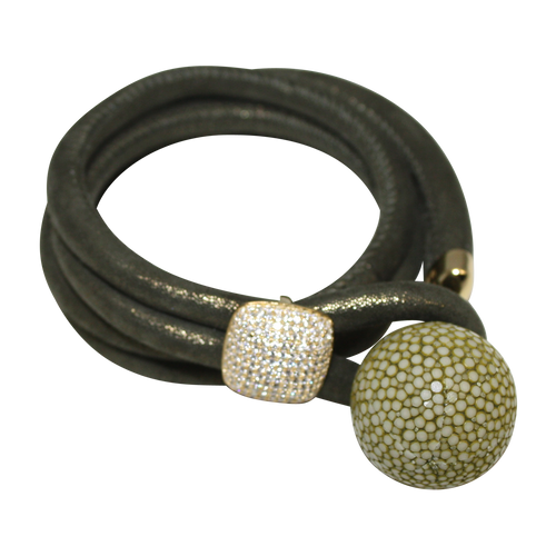 Olive Green Shimmer Italian Wrap Leather Bracelet With CZ Slider & Olive Stingray Sphere - DIDAJ