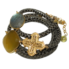 Load image into Gallery viewer, Olive Green Snake Italian Wrap Leather Bracelet With Faceted Labradorite, Yellow Chalcedony & Cross
