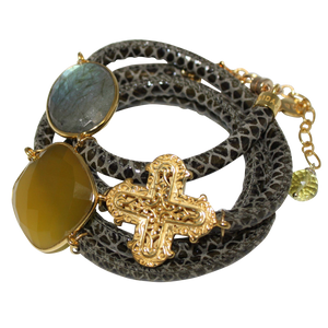 Olive Green Snake Italian Wrap Leather Bracelet With Faceted Labradorite, Yellow Chalcedony & Cross