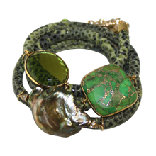Load image into Gallery viewer, Olive Green Snake Italian Wrap Leather Bracelet With Faceted Turquoise, Peridot Quartz & Baroque Pearl
