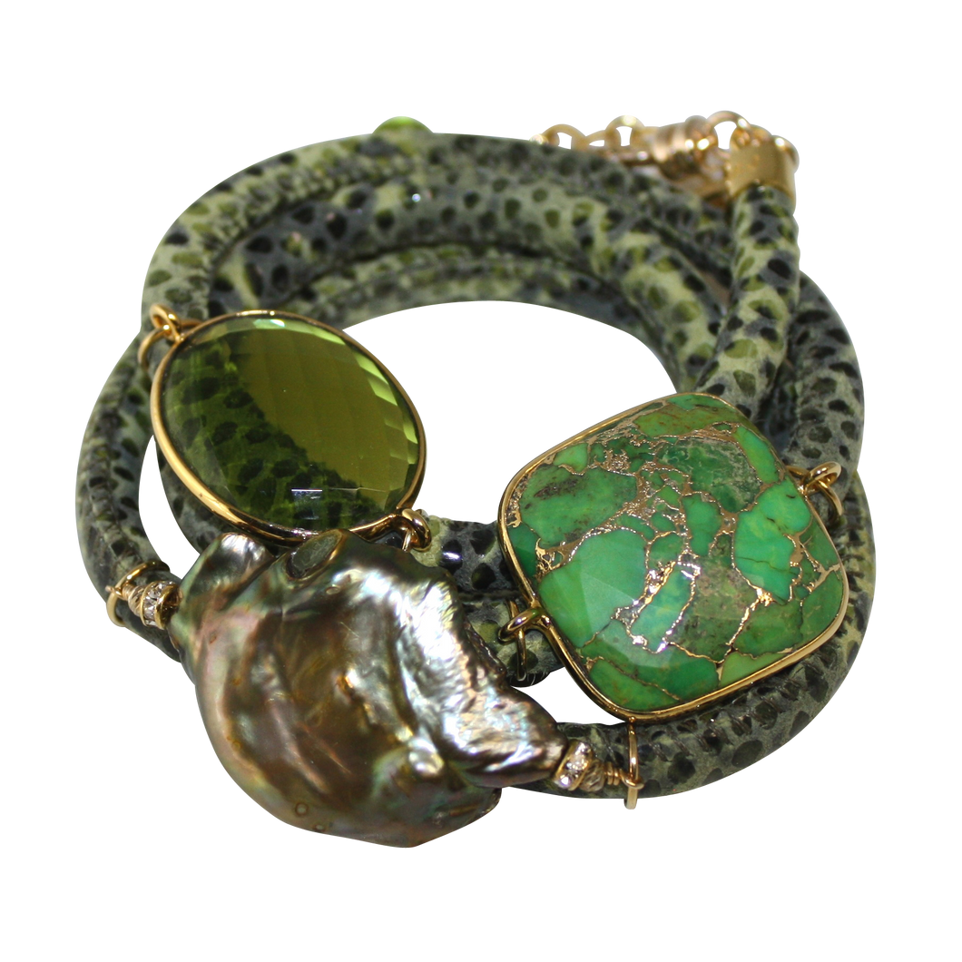 Olive Green Snake Italian Wrap Leather Bracelet With Turquoise, Peridot Quartz & Baroque Pearl - DIDAJ