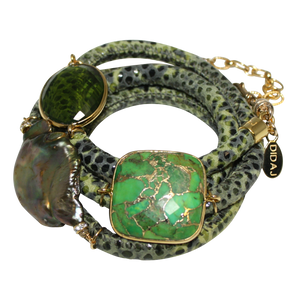 Olive Green Snake Italian Wrap Leather Bracelet With Faceted Turquoise, Peridot Quartz & Baroque Pearl
