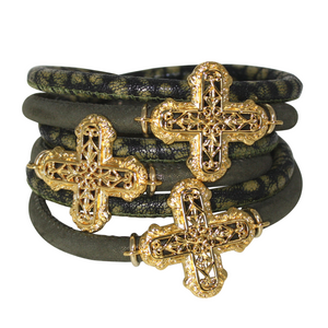 Olive Green Snake Italian Wrap Leather Bracelet With Gold Plated Crosses