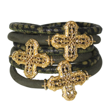 Load image into Gallery viewer, Olive Green Snake Italian Wrap Leather Bracelet With Gold Plated Crosses