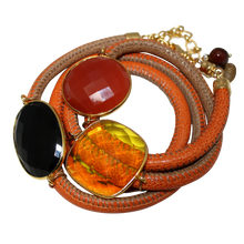 Load image into Gallery viewer, Orange and Beige Italian Wrap Leather Bracelet With Black Spinel, Carnelian & Citrine Quartz - DIDAJ