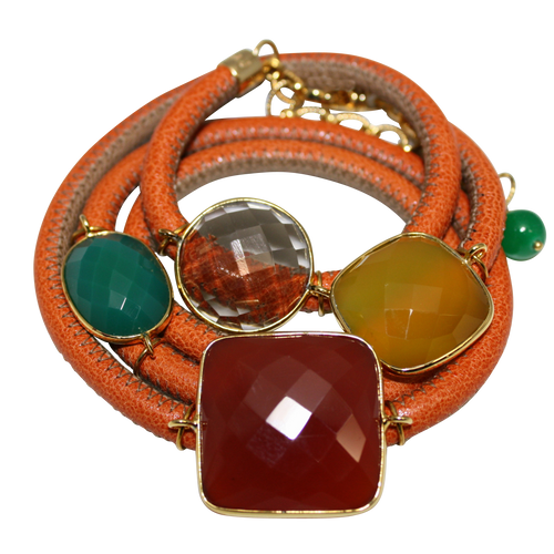 Orange and Beige Italian Wrap Leather Bracelet With Faceted Carnelian, Green Onyx, Yellow Chalcedony & Smoky Quartz