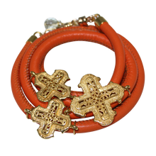 Load image into Gallery viewer, Orange Italian Wrap Leather Bracelet With Yellow Gold Plated Crosses - DIDAJ