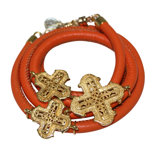 Orange Italian Wrap Leather Bracelet With Yellow Gold Plated Crosses