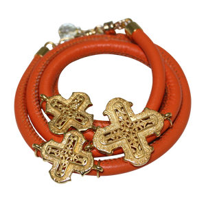 Orange Italian Wrap Leather Bracelet With Yellow Gold Plated Crosses - DIDAJ
