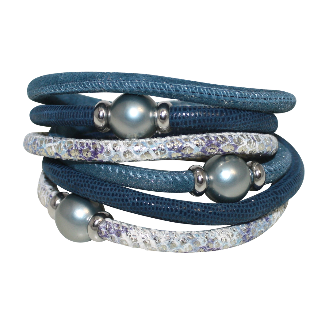 Pearl Aqua Blue Snake Italian Wrap Leather Bracelet With Silver Mother of Pearl