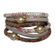 Load image into Gallery viewer, Pearl Coral & Python Snake Italian Wrap Leather Bracelet With Gold Mother of Pearl