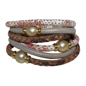 Pearl Coral & Python Snake Italian Wrap Leather Bracelet With Gold Mother of Pearl