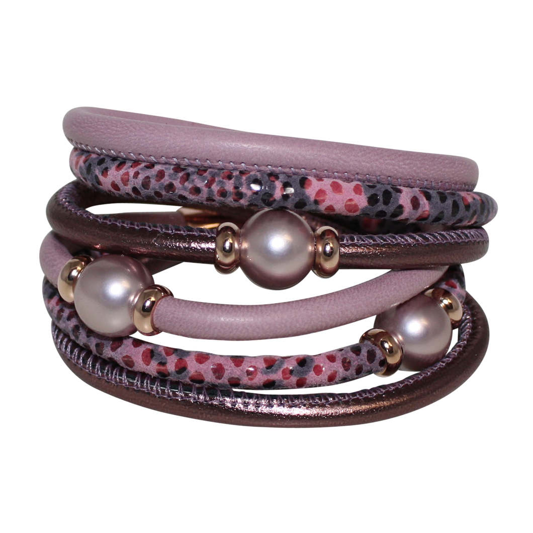 Pearl Lavender Mauve Snake Italian Wrap Leather Bracelet With Silver Mother of Pearl