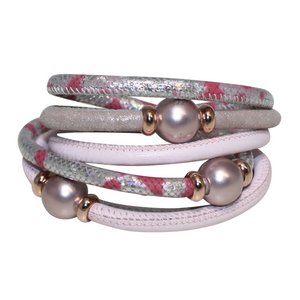 Pearl Pink & Silver Snake Italian Wrap Leather Bracelet With Mauve Mother of Pearl
