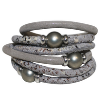 Load image into Gallery viewer, Pearl Silver Beige Snake Italian Wrap Leather Bracelet With Grey Mother of Pearl