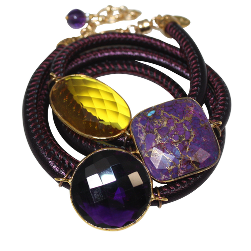 Purple Italian Wrap Leather Bracelet With Faceted Turquoise, Amethyst & Citrine Quartz