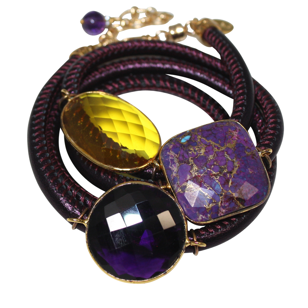 Purple Italian Wrap Leather Bracelet With Faceted Turquoise, Amethyst & Citrine Quartz - DIDAJ