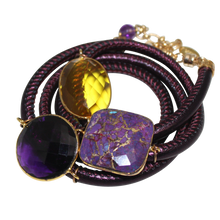 Load image into Gallery viewer, Purple Italian Wrap Leather Bracelet With Faceted Turquoise, Amethyst & Citrine Quartz