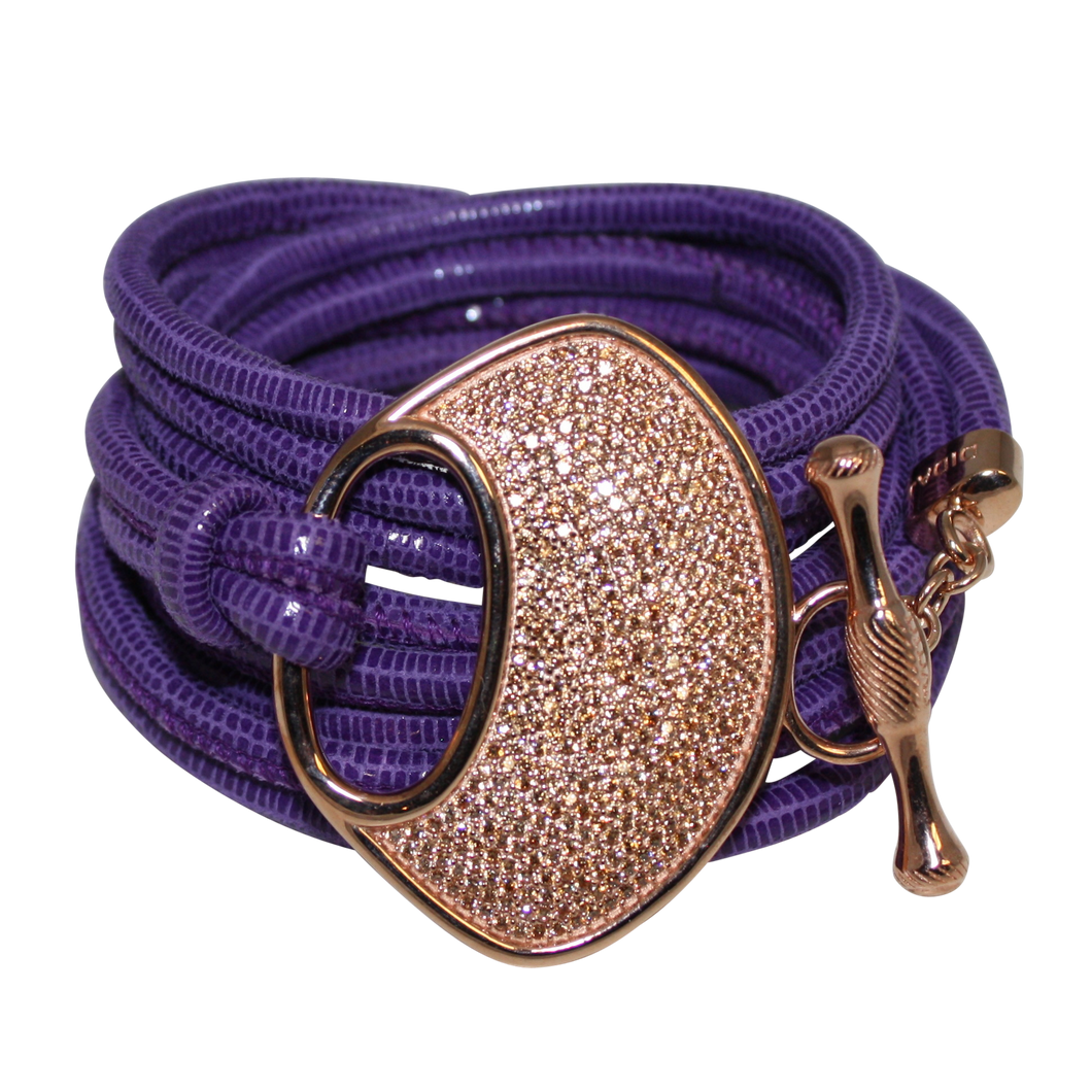 Purple Snake Italian Wrap Leather Bracelet With CZ Buckle - DIDAJ