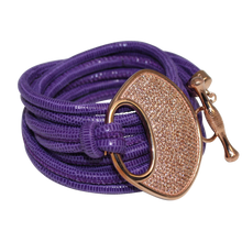 Load image into Gallery viewer, Purple Snake Italian Wrap Leather Bracelet With CZ Buckle