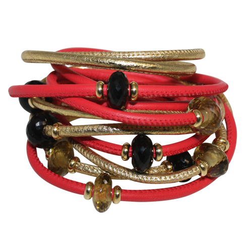 Red & Gold Italian Wrap Leather Bracelet With Faceted Spinel & Citrine