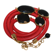 Load image into Gallery viewer, Red Italian Wrap Leather Bracelet With Faceted Black Spinel