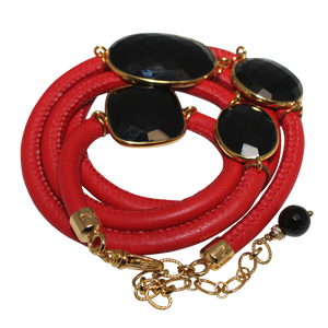 Red Italian Wrap Leather Bracelet With Faceted Black Spinel