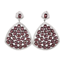 Load image into Gallery viewer, Rhodolite Cabochon Garnet and Pave Earrings