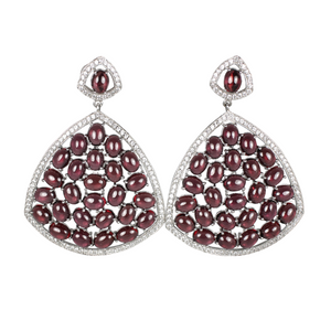 Rhodolite Cabochon Garnet and Pave Earrings