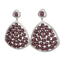 Load image into Gallery viewer, Rhodolite Cabochon Garnet and Pave Earrings - DIDAJ