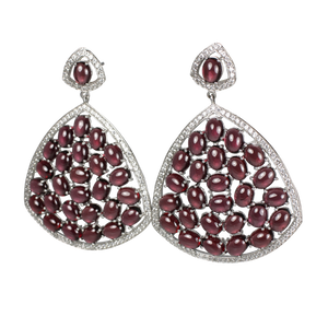 Rhodolite Cabochon Garnet and Pave Earrings - DIDAJ