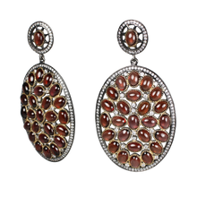 Load image into Gallery viewer, Rhodolite Cabochon Garnet in Gold & Black Rhodium Earrings