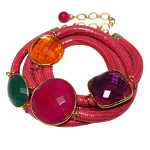 Load image into Gallery viewer, Rose Italian Wrap Leather Bracelet With Faceted Chalcedony, Green Onyx, Amethyst & Citrine Quartz
