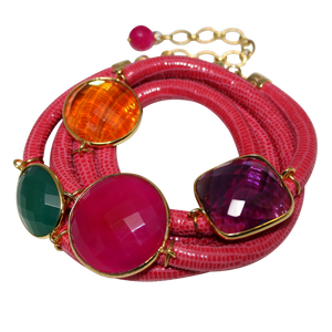 Rose Italian Wrap Leather Bracelet With Faceted Chalcedony, Green Onyx, Amethyst & Citrine Quartz