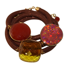 Load image into Gallery viewer, Rusty Orange Italian Wrap Leather Bracelet With Opal, Faceted Carnelian, & Citrine Quartz