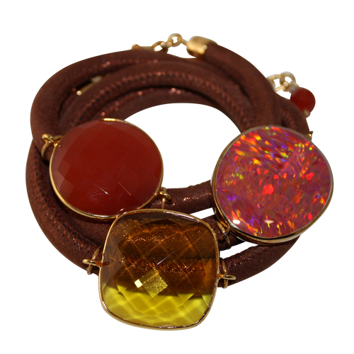 Rusty Orange Italian Wrap Leather Bracelet With Opal, Faceted Carnelian, & Citrine Quartz - DIDAJ