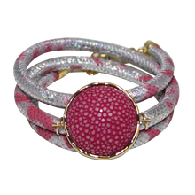 Load image into Gallery viewer, Silver & Rose Snake Italian Wrap Leather Bracelet With Fuchsia Stingray Connector