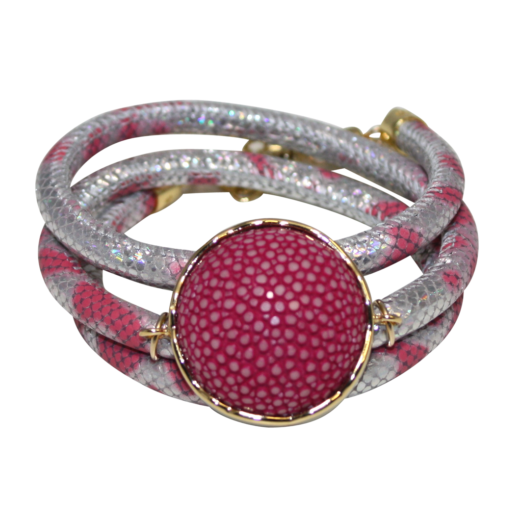 Silver & Rose Snake Italian Wrap Leather Bracelet With Fuchsia Stingray Connector