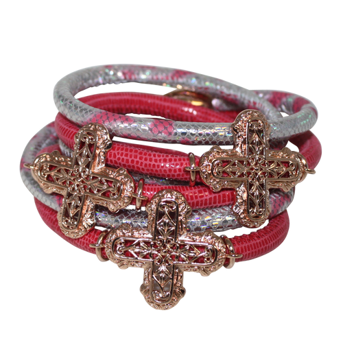 Silver & Rose Snake Italian Wrap Leather Bracelet With Rose Gold Plated Crosses