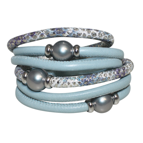 Sky Blue Aqua Snake Italian Wrap Leather Bracelet With Silver Mother of Pearl
