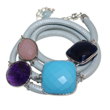 Load image into Gallery viewer, Sky Blue Italian Wrap Leather Bracelet With Turquoise, Blue Onyx, Pink Chalcedony & Amethyst Quartz - DIDAJ