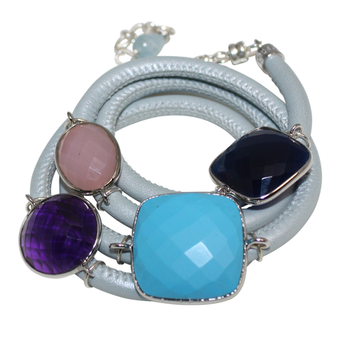 Sky Blue Italian Wrap Leather Bracelet With Turquoise, Blue Onyx, Pink Chalcedony & Amethyst Quartz - DIDAJ