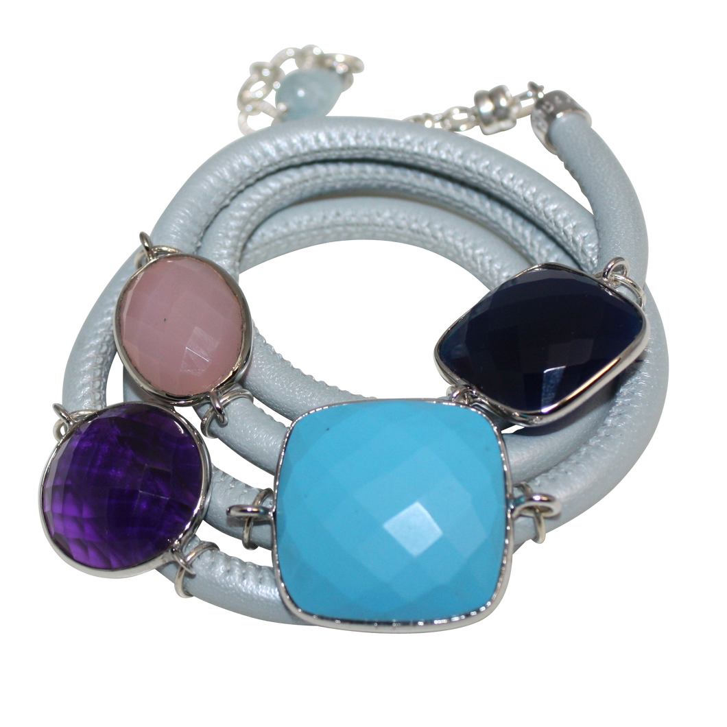 Sky Blue Italian Wrap Leather Bracelet With Faceted Turquoise, Blue Onyx, Pink Chalcedony & Amethyst Quartz